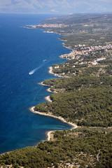 Sutivan, village on northwest of Brac Island, Croatia, aerial