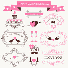 Vector set of valentine's day vintage design elements and icons