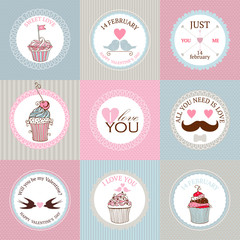 Vector collection of decorative hand drawn sweet cupcakes