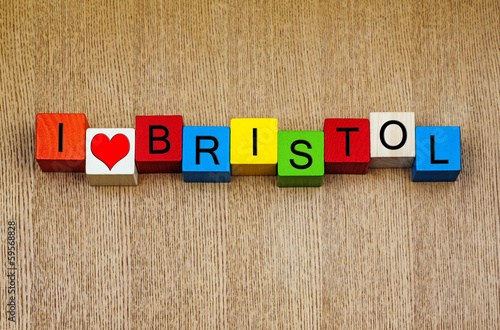 Poster I Love Bristol, England, UK, sign series, English cities and cou