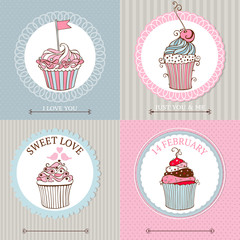 Vector collection of  cupcakes card for valentines day