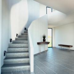 3D rendering of a stairway with dark floor