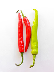 chillies in white background