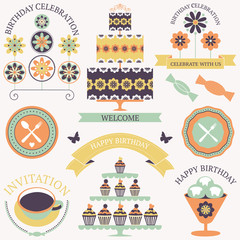 Vector set of birthday celebration icons with artistic flowers.