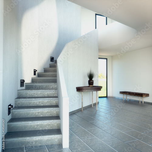 3D rendering of a stairway with dark floor