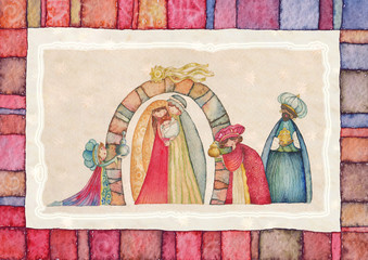 Nativity scene. Jesus, Mary, Joseph and the Three Kings