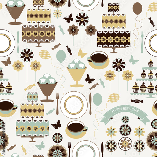 Vector seamless pattern with holiday elements in vintage colors.