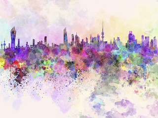 Kuwait City skyline in watercolor background