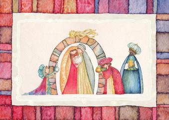 Nativity scene. Jesus, Mary, Joseph and the Three Kings.