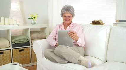 Smiling senior woman using tablet
