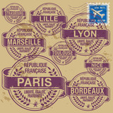 Stamp set with names of France cities, vector