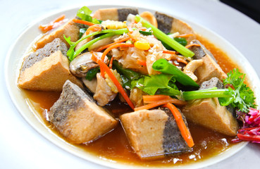 healthy food with tofu and vegetable