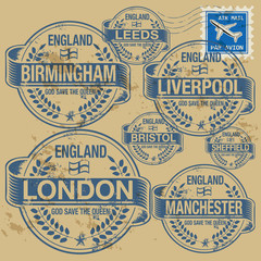 Stamp set with names of England cities, vector