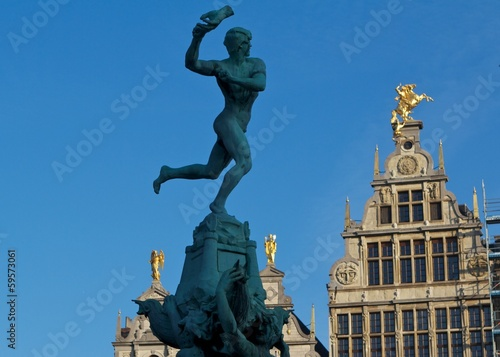 Antwerp, Belgium, Statue on the market