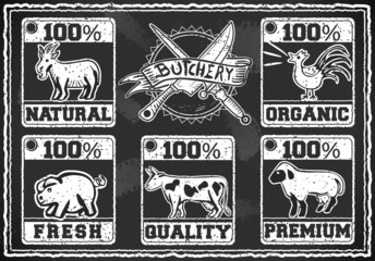 Vintage Butcher Shop Labels on a Blackboard