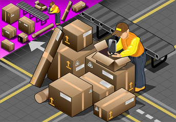Isometric Packer at Work with Boxes