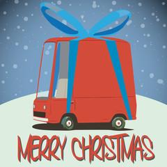 christmas card with cartoon minivan