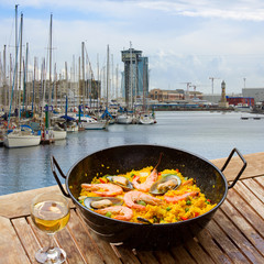 Seafood paella in seaside cafe, Barcelona
