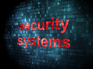 Protection concept: Security Systems on digital background