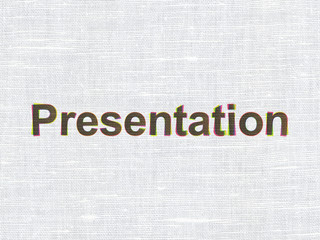 Advertising concept: Presentation on fabric texture background