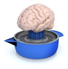 human brain on juicer, 3d illustration
