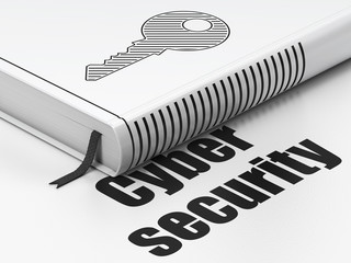 Protection concept: book Key, Cyber Security on white background