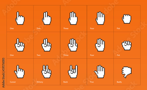 Pixel cursors icons: mouse hands.