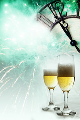 Champagne glasses, clock and fireworks