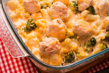 Baked broccoli and cauliflower with cheese