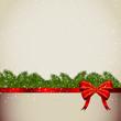 новогодний фон с красным бантом и елочными ветками