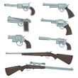 Cartoon Guns, Revolver And Rifles Set - 59576819