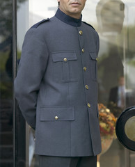 Bellhop with grey uniform