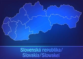 Grenzkarte von Slowakei mit Grenzen in einfarbig Scribble