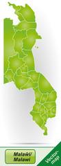 Grenzkarte von Malawi mit Grenzen in Grün