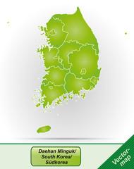 Grenzkarte von Korea-Sued mit Grenzen in Grün