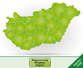 Grenzkarte von Ungarn mit Grenzen in Grün