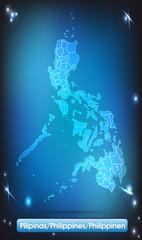 Philippinen mit Grenzen in leuchtend einfarbig