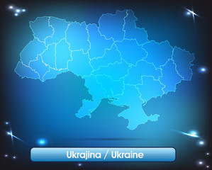 Ukraine mit Grenzen in leuchtend einfarbig