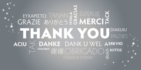 Thank You multilingual, silver
