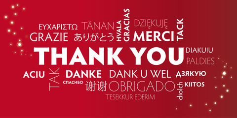 Thank You multilingual, red