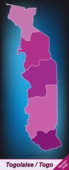 Togo mit Grenzen in Violett