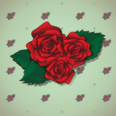 Red Rose On Green Background - Vector Illustration