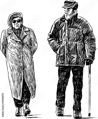 walking elderly couple