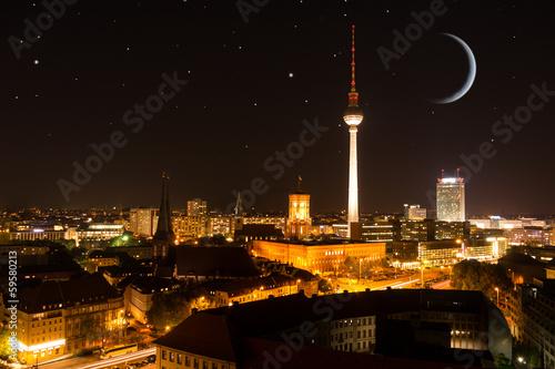 Fototapeta berlin panorama mit sternenhimmel