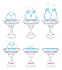 Fountains with different water pressures