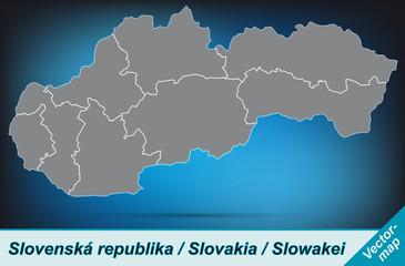 Slowakei mit Grenzen in leuchtend grau