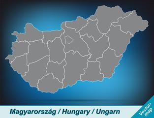 Ungarn mit Grenzen in leuchtend grau