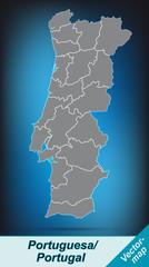 Portugal mit Grenzen in leuchtend grau