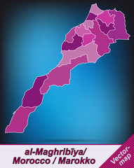 Grenzkarte von Marokko mit Grenzen in Violett