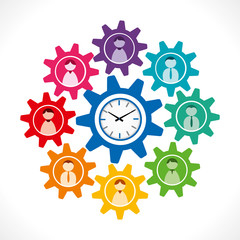 people icon in gear with clock vector